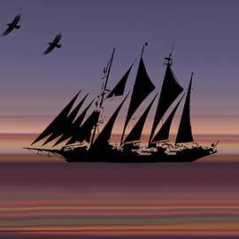 Sheela Ajith - Sunset Sail Abstract