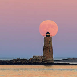 John Vose - Super Moon Rise Over Whaleback Lighthouse