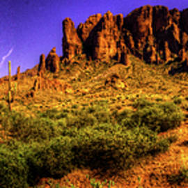 Roger Passman - Superstition Mountains in Panorama Late Afternoon
