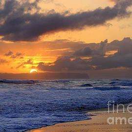 Catherine Sherman - Surfer at Sunset on Kauai Beach With Niihau on Horizon