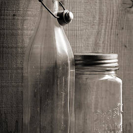 Sandra Church - Swing Top Glass Bottle and Vintage Wide Mouth Presto Jar with Aluminum and Glass Lid
