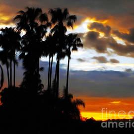 Kaye Menner - Tall Palms Sunset Silhouette by Kaye Menner