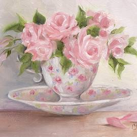 Chris Hobel - Teacup And Saucer Rose Shabby Chic Painting