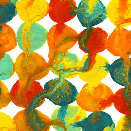 Amy Vangsgard - Teal Yellow Red Orange Flowing Paint Circle Pattern