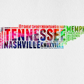 Tennessee Watercolor Word Cloud Map  - Naxart Studio