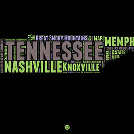 Tennessee Word Cloud Map 1 - Naxart Studio