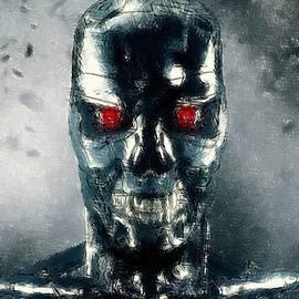 Movie Poster Prints - Terminator Oil Pastel Sketch