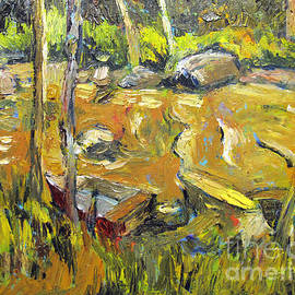 Charlie Spear - The Eeel and the Skiff palette knife plein air framed
