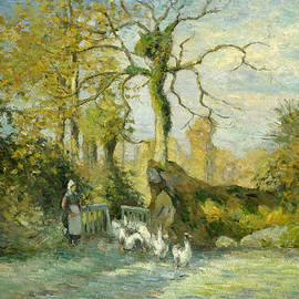 The Goose Girl at Montfoucault - Camille Pissarro
