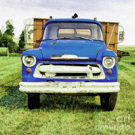 The Old Blue Farm Truck Painting - Edward Fielding