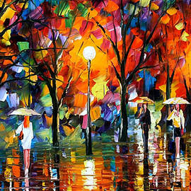 Leonid Afremov - The Song Of Rain - PALETTE KNIFE Oil Painting On Canvas By Leonid Afremov