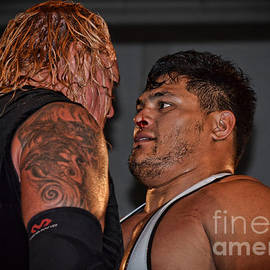 Jim Fitzpatrick - The Stare Down Pro Wrestlers Gangrel and Mr. Athletic Jeff Cobb