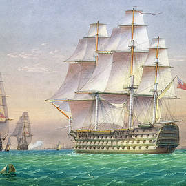 Three first rate ships of the line entering Portsmouth harbor - William and John Joy