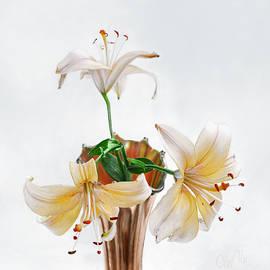 Louise Kumpf - Three Pale Gold Lilies Still Life