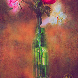 Anna Surface - Three Peonies In Green Bottle