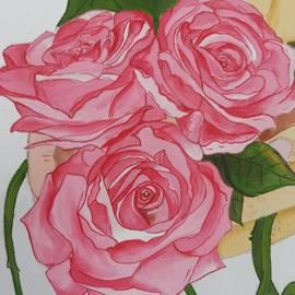 Pushpa Sharma - Three pink roses