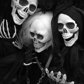 Spooky Scary Skeletons - Halloween Skeleton Black and White Spooky Gothic Skull Skeleton Art - Kathy Fornal