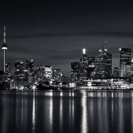 Brian Carson - Toronto Skyline At Night From Polson St No 2 Black and White Ver