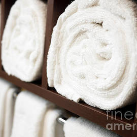 Towel Rack with Rolled Towels - Paul Velgos
