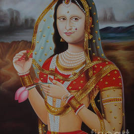 A K Mundra - Traditional Art Monalisa Oil painting on Canvas Art n India Art Gallery