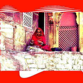 Sue Jacobi - Travel Exotic Woman Sewing in Mehrangarh Fort India Rajasthan 2a