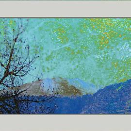 Gretchen Wrede - Tree Woven into Olivine Cobalt and Golden Bursts