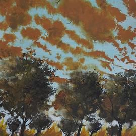 David K Myers - Trees Below, Watercolor Painting