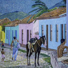 Manuel Lopez - Trinidad lifestyle 28x22in oil on canvas