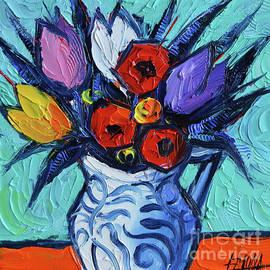 Mona Edulesco - Tulips and Poppies mini still life
