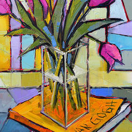 Mona Edulesco - Tulips And Van Gogh - Abstract Still Life