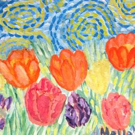 Carmela Maglasang - Tulips  On A Starry Night