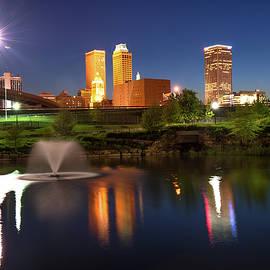 Gregory Ballos - Tulsa Oklahoma Night City Skyline Reflections