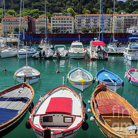 Liesl Walsh - Turqouise Water and Colorful Boats at Marina in Nice, France