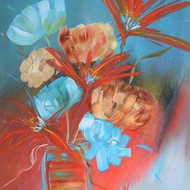 Kathy Morawiec - Turquoise and Orange Floral