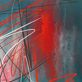 Turquoise and Red Modern Abstract - Lourry Legarde