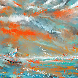 Turquoise Sail - Orange and Turquoise Abstract Art - Lourry Legarde