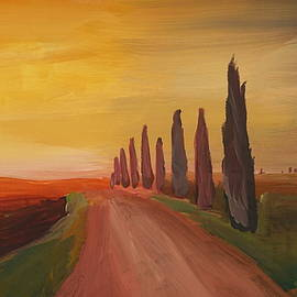 M Bleichner - Tuscany Alley Way with Cypress at Dusk