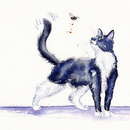 Debra Hall - Tuxedo Cat and Bumble Bee