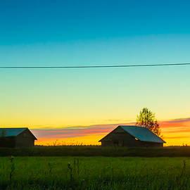 Jukka Heinovirta - Two Barn Houses In The Springtime Sunset