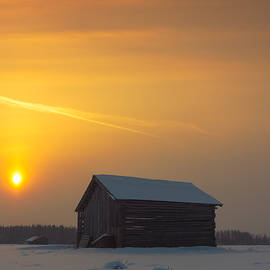 Jukka Heinovirta - Two Barns In The Winter Sunrise