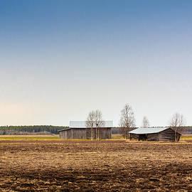 Jukka Heinovirta - Two Barns On An Early Spring Field