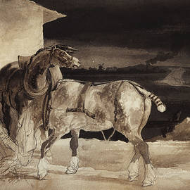 Two Horses and a Sleeping Groom  - Theodore Gericault