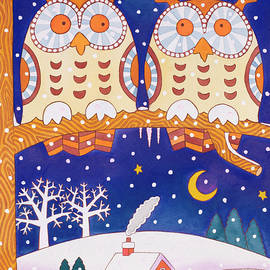 Two owls on a branch - Cathy Baxter