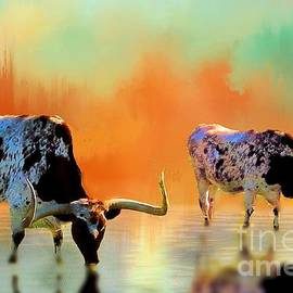 Janette Boyd - Two Texas Longhorns at Watering Hole