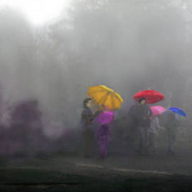 Uma Krishnamoorthy - Umbrellas on a foggy morning