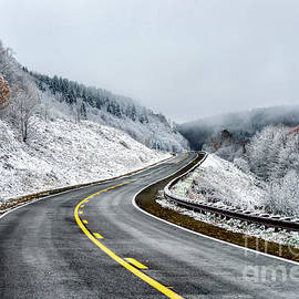Thomas R Fletcher - Unexpected Autumn Snow Highway