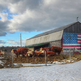 Joann Vitali - US Flag on Barn - Vermont Farm Scene