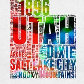 Utah Watercolor Word Cloud Map - Naxart Studio