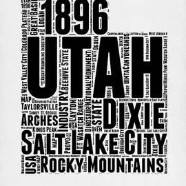 Utah Word Cloud Map 2 - Naxart Studio