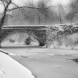 Bill Cannon - Valley Green Bridge in Freshly Fallen Snow in Black and White